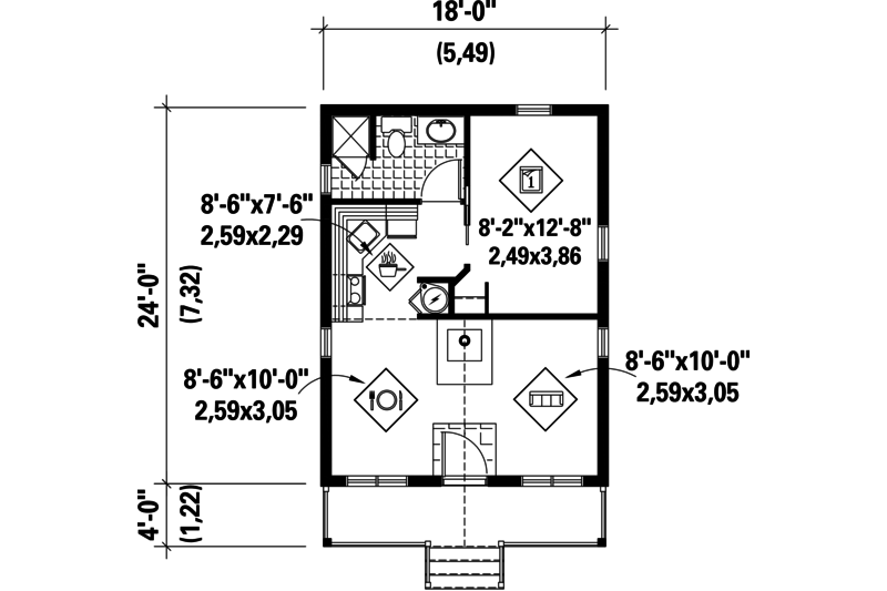 Country Style House Plan 1 Beds 1 Baths 432 Sq Ft Plan 25 4738 House Plans Country Style House Plans Floor Plan Design