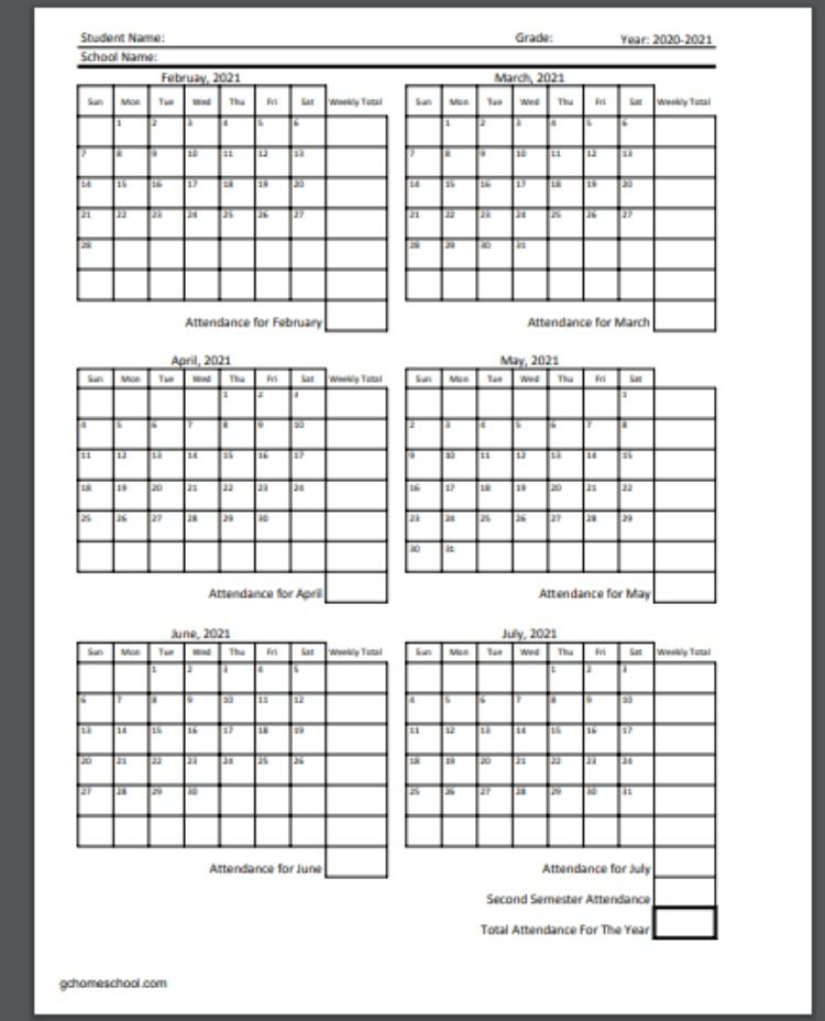 Free Homeschool Attendance Calendars 2020-2021 in 2020