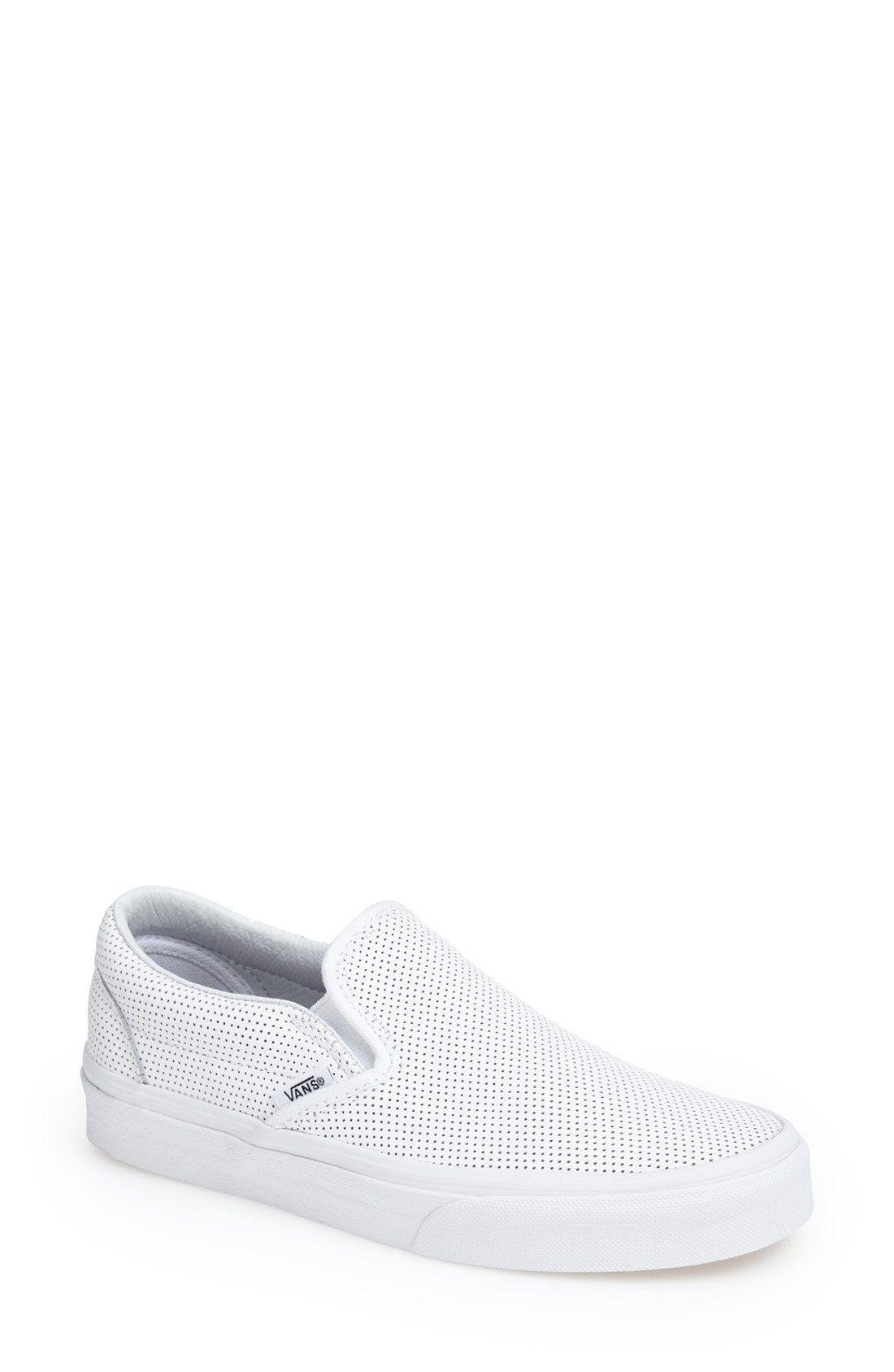 bc14cd064b vans white perforated leather classic slip-on sneaker