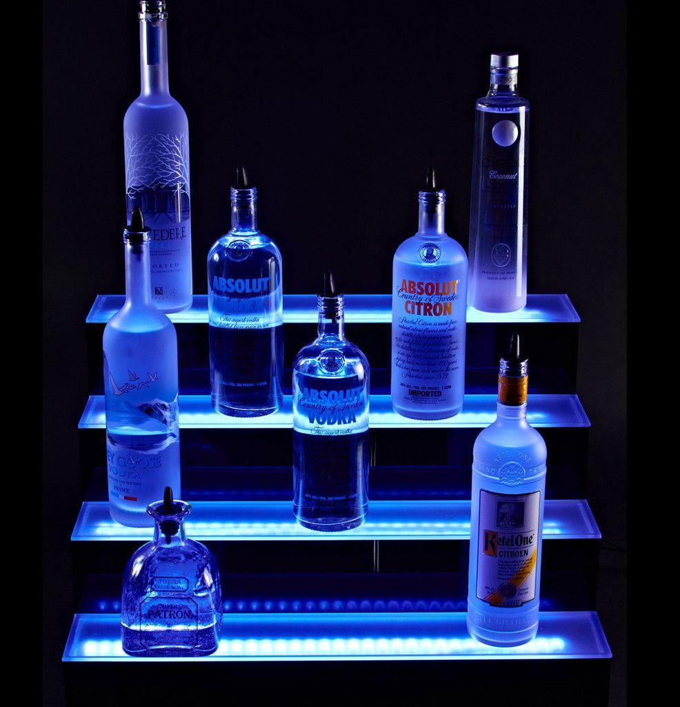 4 tier led liquor display by shindiggitcom led shelving best bar upgrade best mood lighting