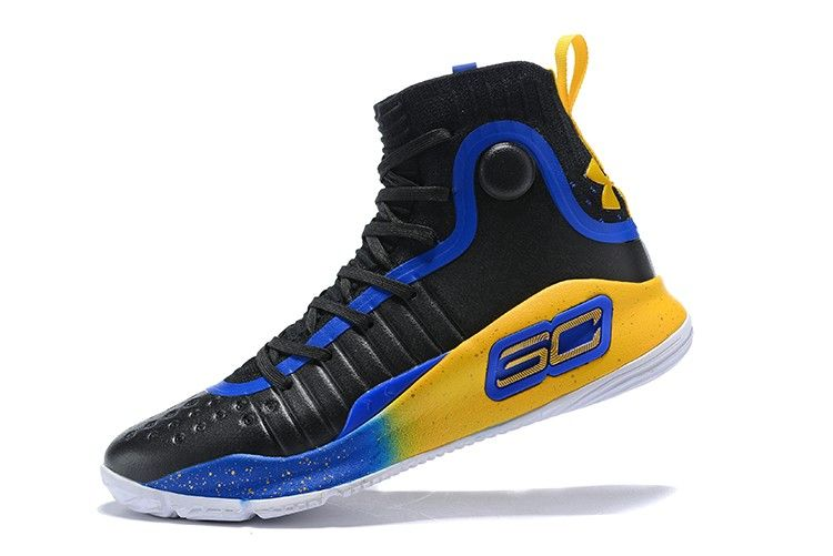 2018 Cheap Under Armour Curry 4 Black Royal Blue Yellow Shoes-2 ... 6f04b482e