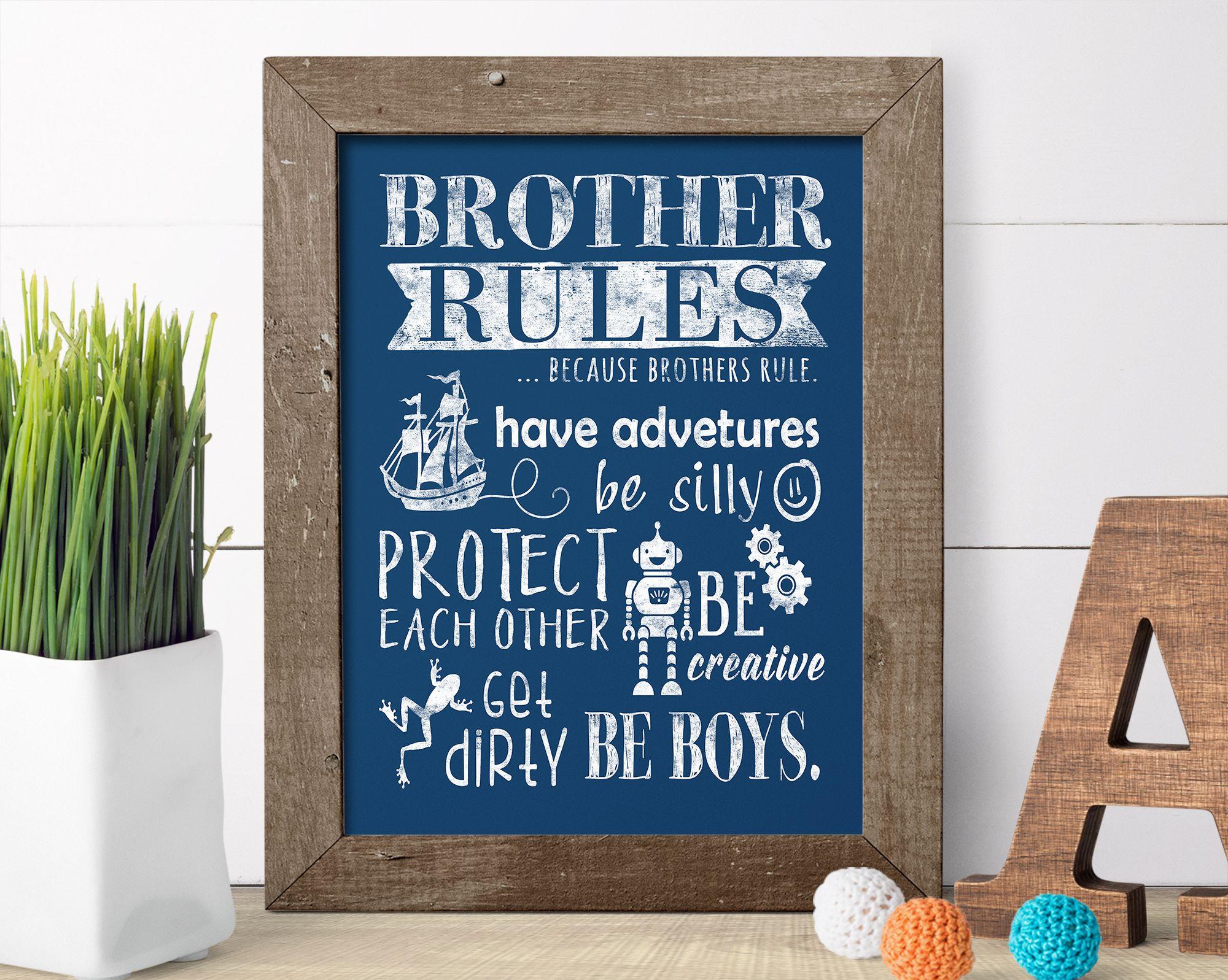 Brother rules art print loyalty playroom art and playroom decor