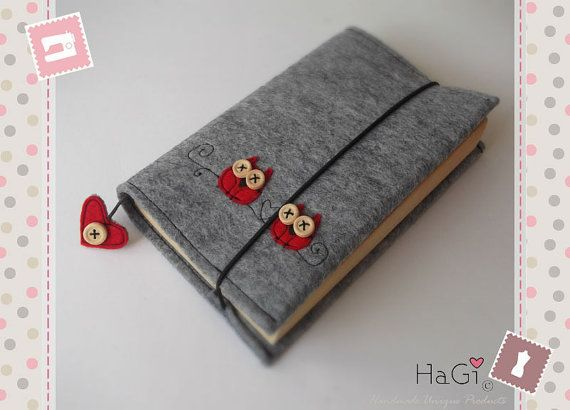 Handmade Felt Book Cover : Cute and practical felt book cover red wise von