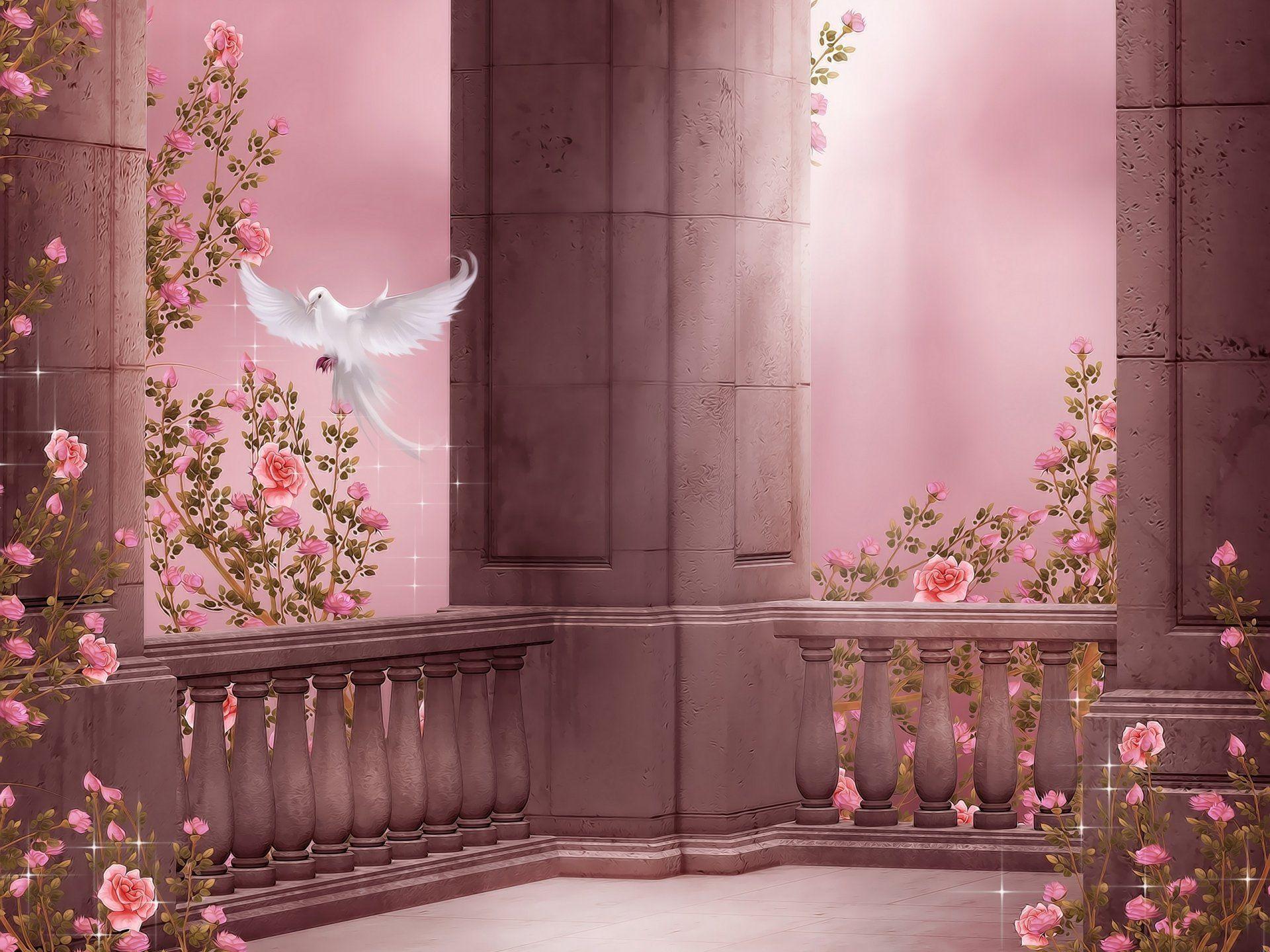 Pink Rose Garden Wallpaper rose garden columns pigeon dove roses flowers rose garden column