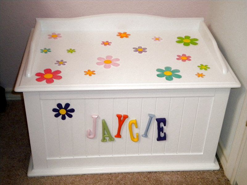 Cute Way To Stencil A Child S Toy Box Wooden Toy Boxes Diy Platform Bed Frame Kids Toy Boxes