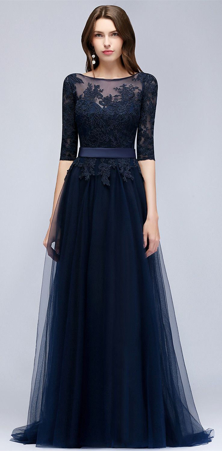Elegant halfsleeve lace evening dress long tulle prom gowns