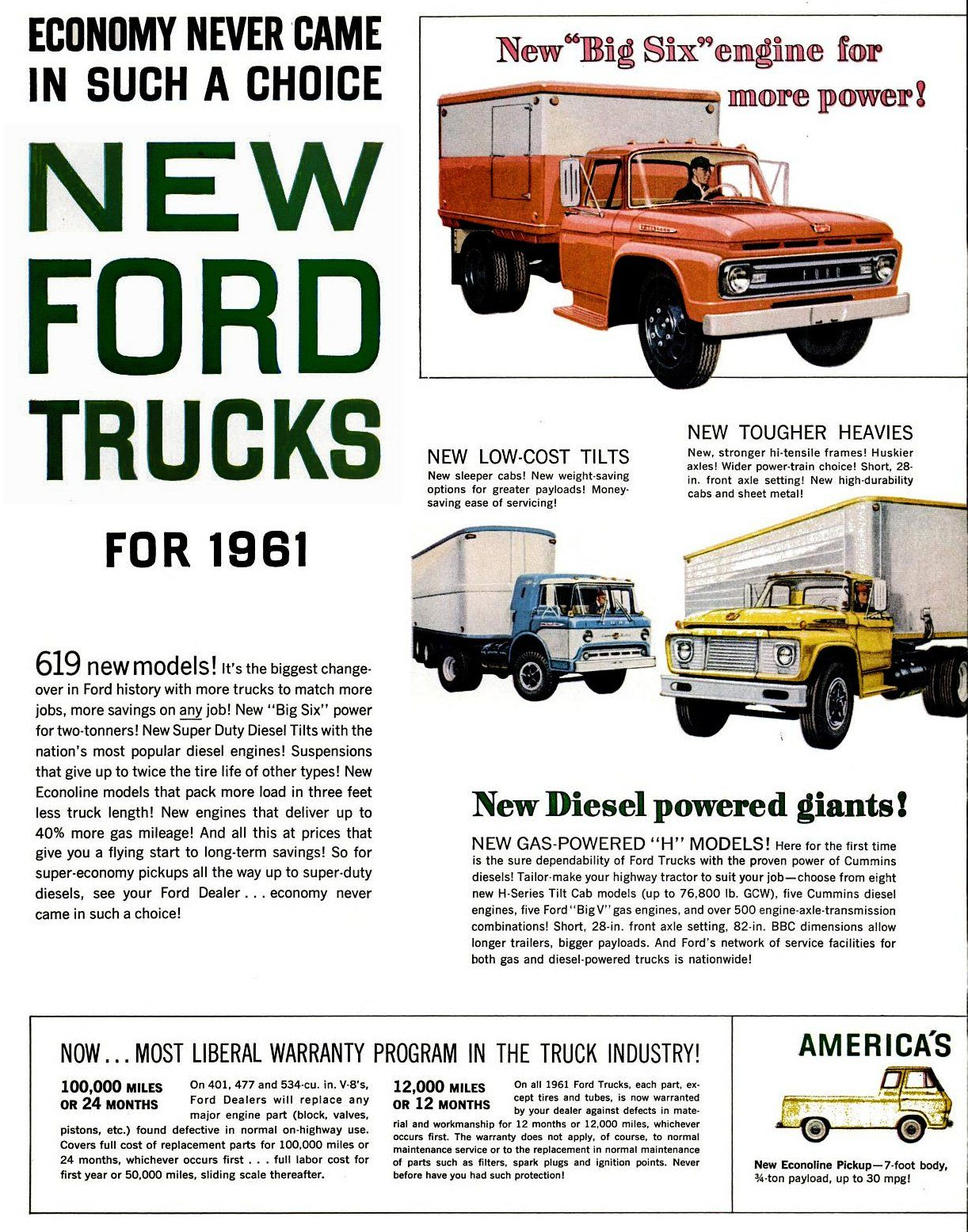 The New Heavy Duty 1961 Ford Trucks Ford Trucks New Trucks