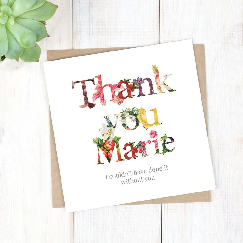 Personalised Floral Thank You Card Thank You Cards Your Cards