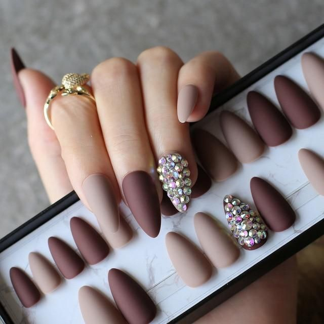 French Coffin Designed Medium Nails Nude Natural Color