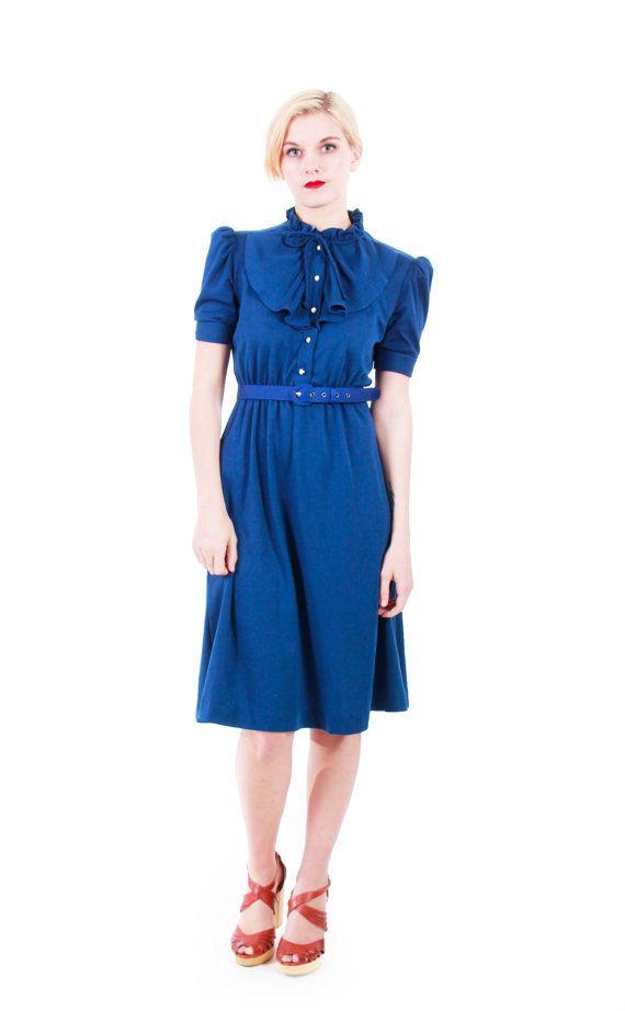 a79c335a2518 Vintage Navy Blue Pleated Secretary Dress Short Sleeve Midi Pleated ...