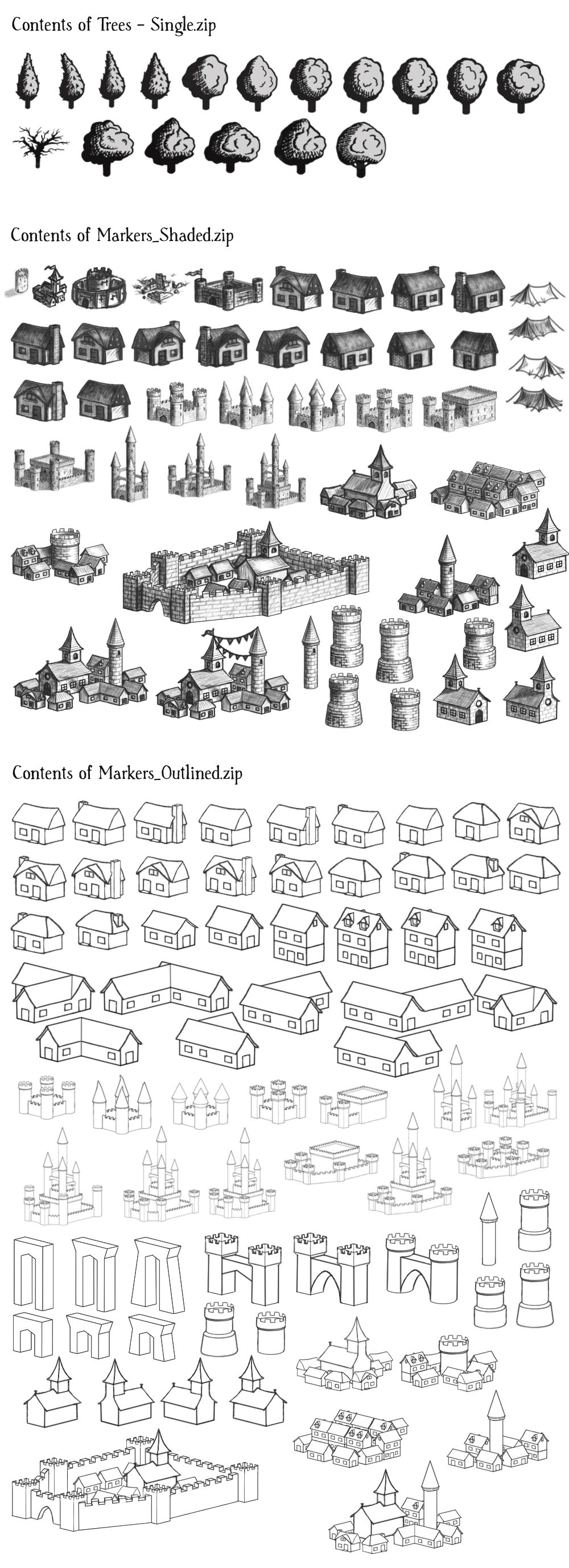 Unity Line Art Map : Map icons font graphics images trees buildings