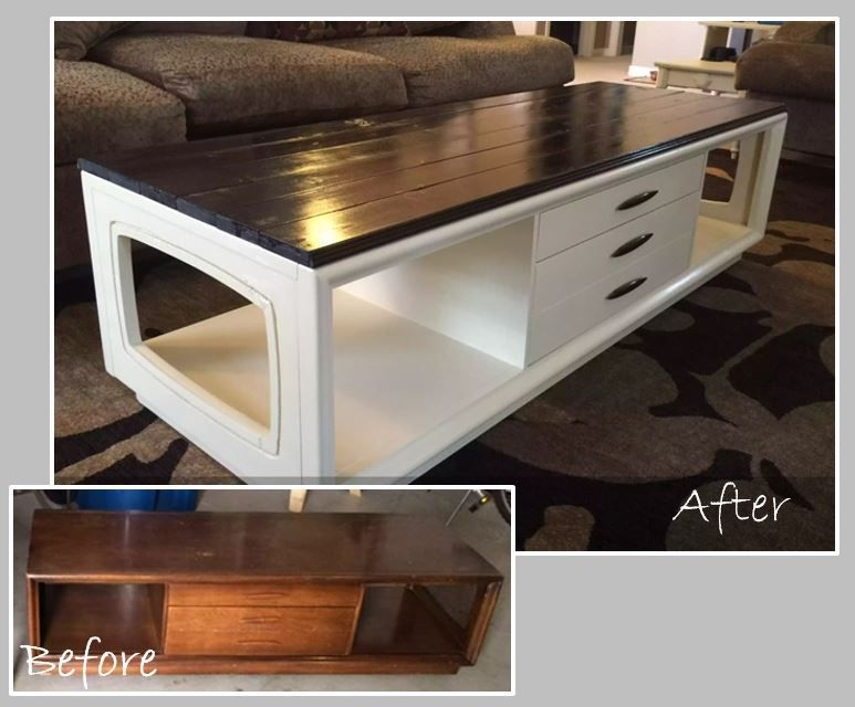Diy 70 S Coffee Table Makeover Added Wood To The Top And Stained