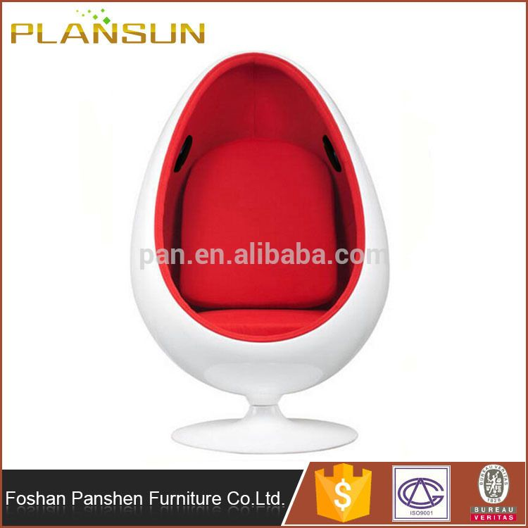 Modern Replica Fiberglass Shell Oval Eye Egg Pod Chair With Speakers