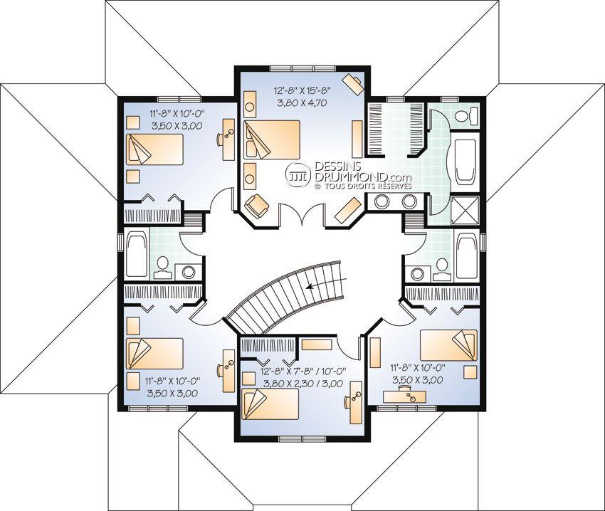 house_plan_maison_etage_2_stories_Etage_W2833 2 floor plan