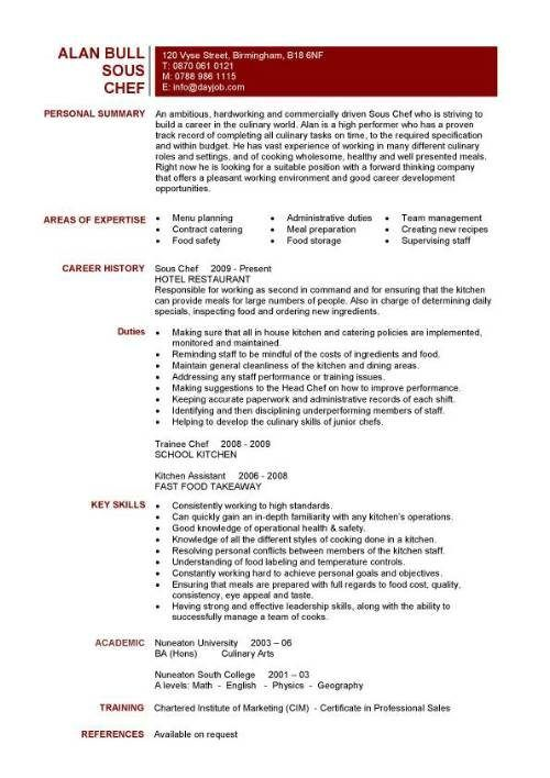 Resume Sample Examples Sous Chef Jobs Free Template For Cook Prep