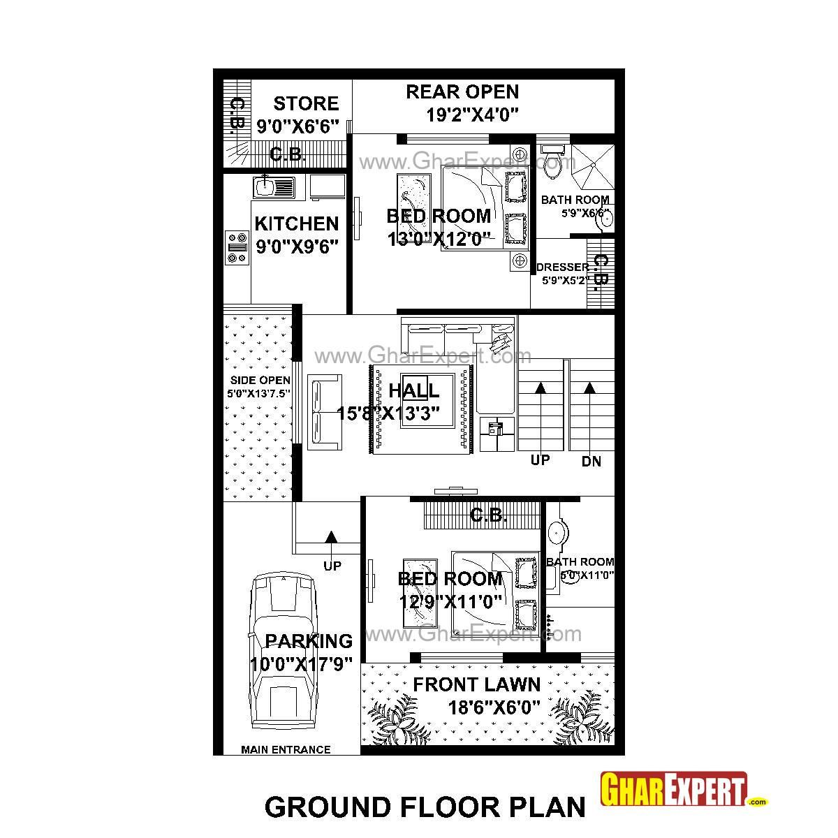 House Plan For 25 Feet By 30 Feet Plot Plot Size 83: 30*50 Ft Plot Size