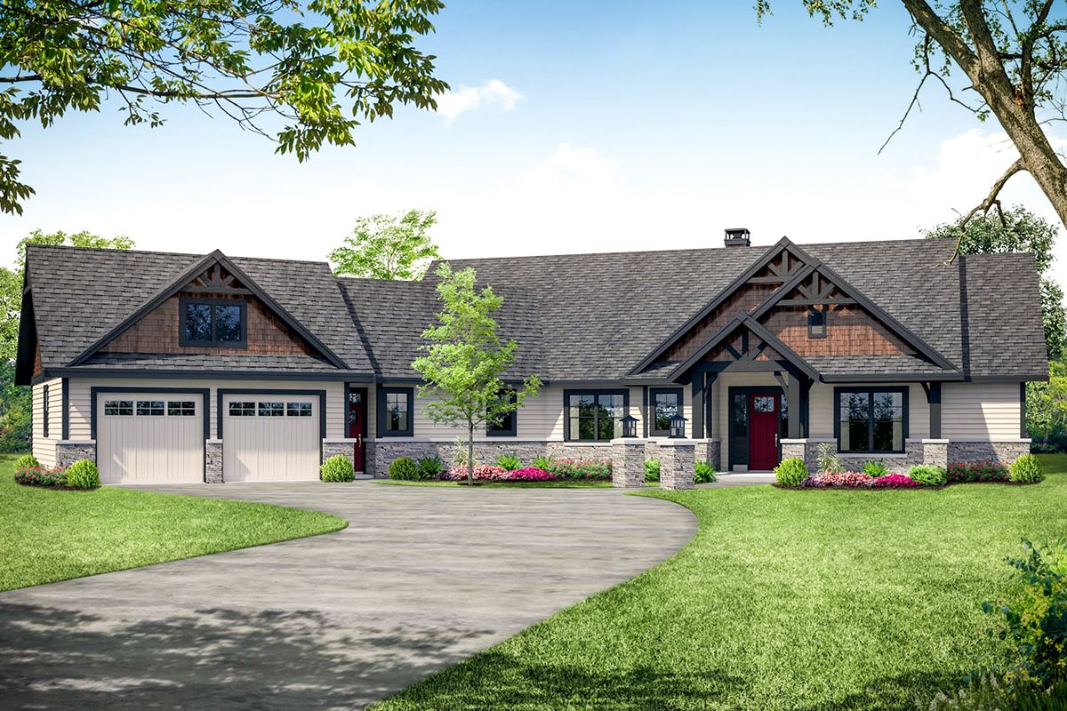 Plan 72937da Rugged Craftsman Ranch Home Plan With Angled Garage Craftsman Style House Plans Lodge Style House Plans Ranch House Plans