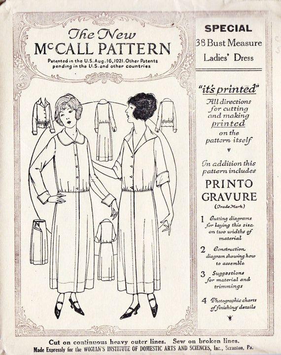 1920s Dress Vintage Sewing Pattern | Vintage Sewing Patterns | Pinterest