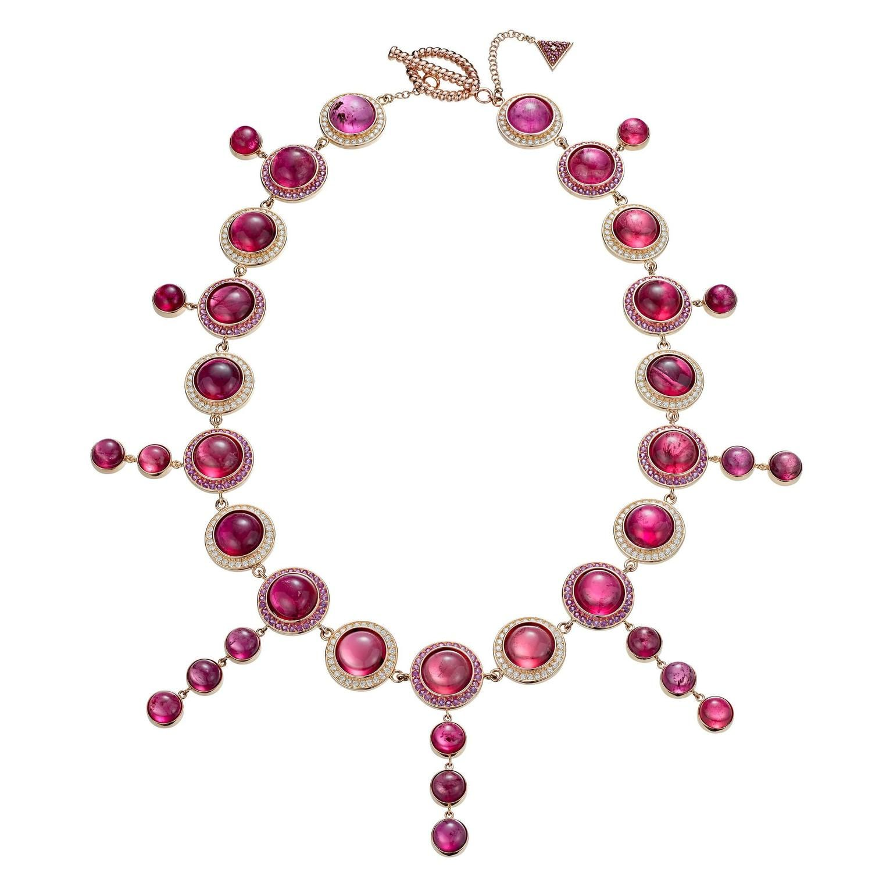 Rubelite pink sapphire diamond gold stena necklace