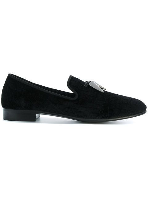 Giuseppe Zanotti Designer Shoes, Velvet Loafers w/Crystals