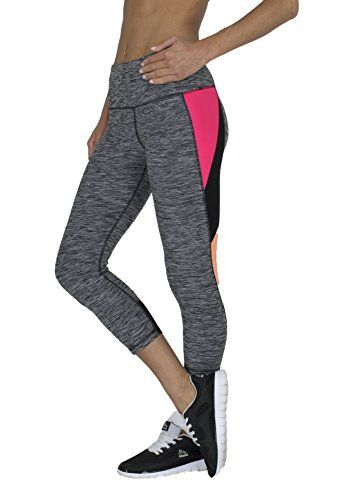 RBX Active womens Striated Color Block Printed Capri LeggingsBlack  Pink  Orange ComboLarge ** Click image to review more details.
