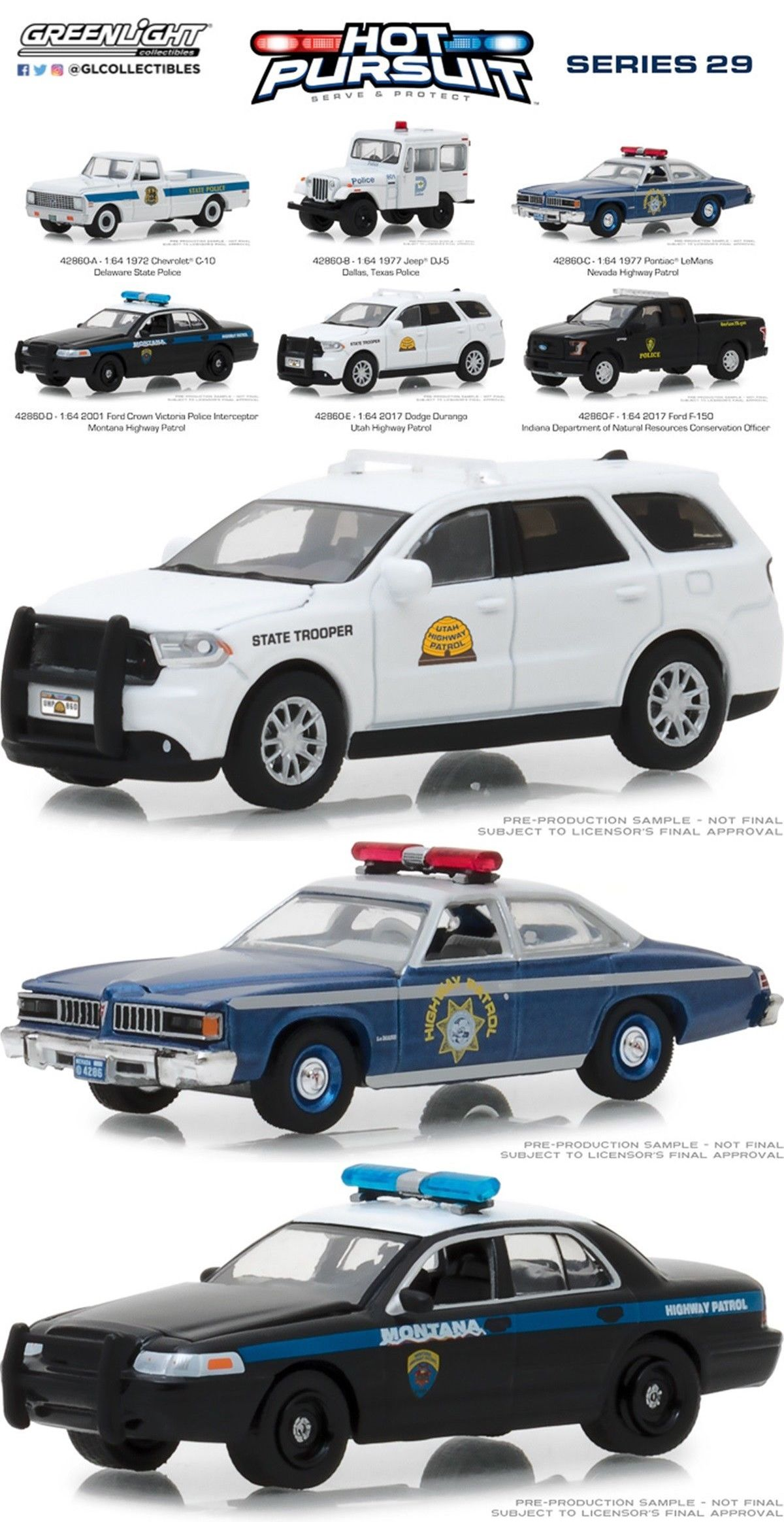 Greenlight 1 64 Hot Pursuit Series 29 Six Model Set Utah Nevada Dallas 42860 Hot Wheels Six Models Pontiac Lemans