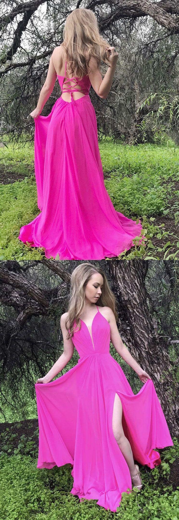 princess long prom dress, hot pink long prom dress with side slit ...