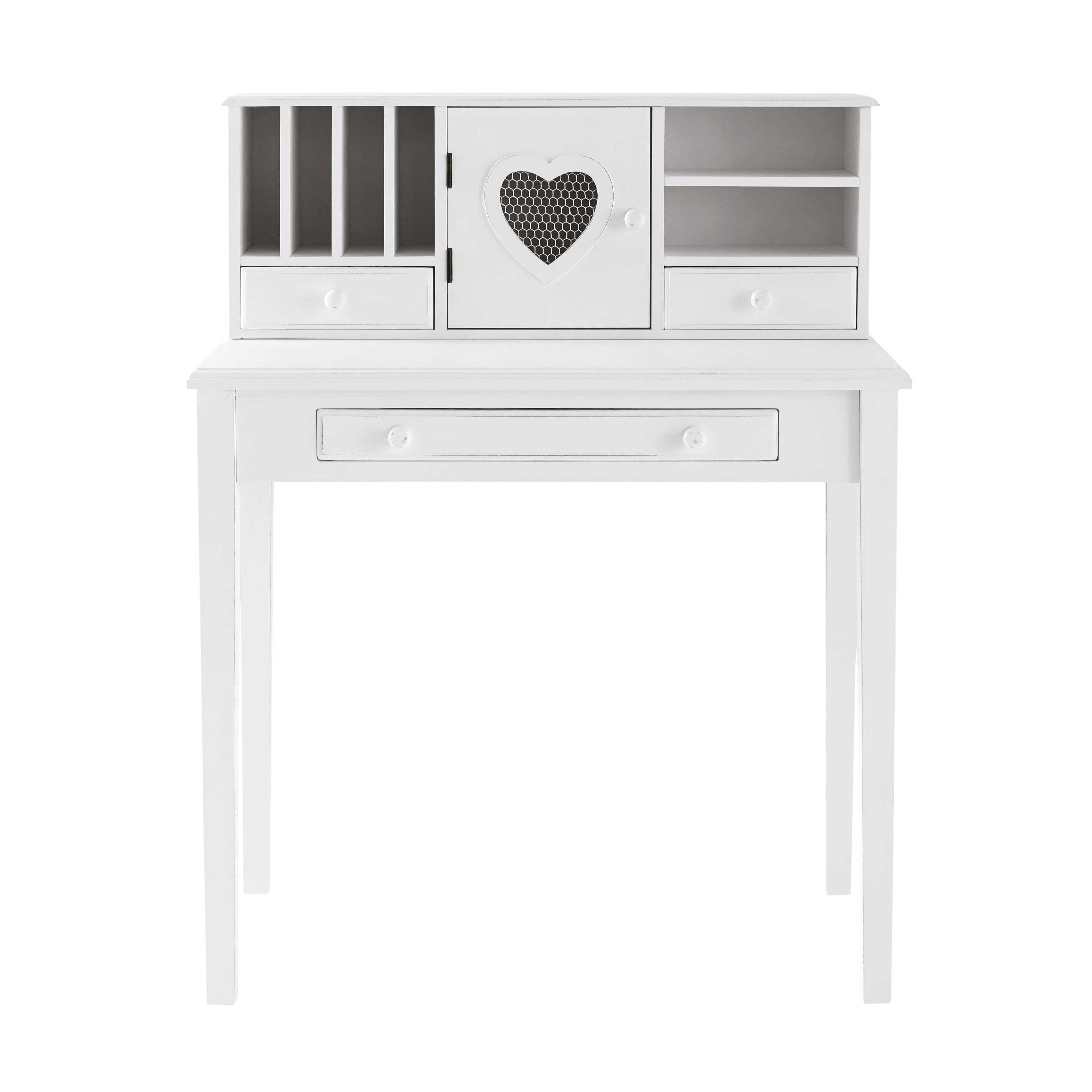 scrivania secrtaire bianca in legno l 86 cm valentine