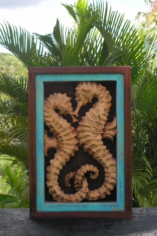 Sea Horses Wood Carving.