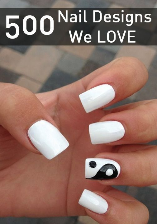 One Hand White The Other Hand Black Nails Simple Nails Different Acrylic Nail Shapes