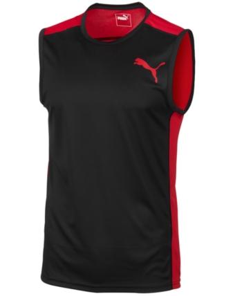 d7787a989fb275 Puma Men s Sleeveless Training T-Shirt - Black Red XXL