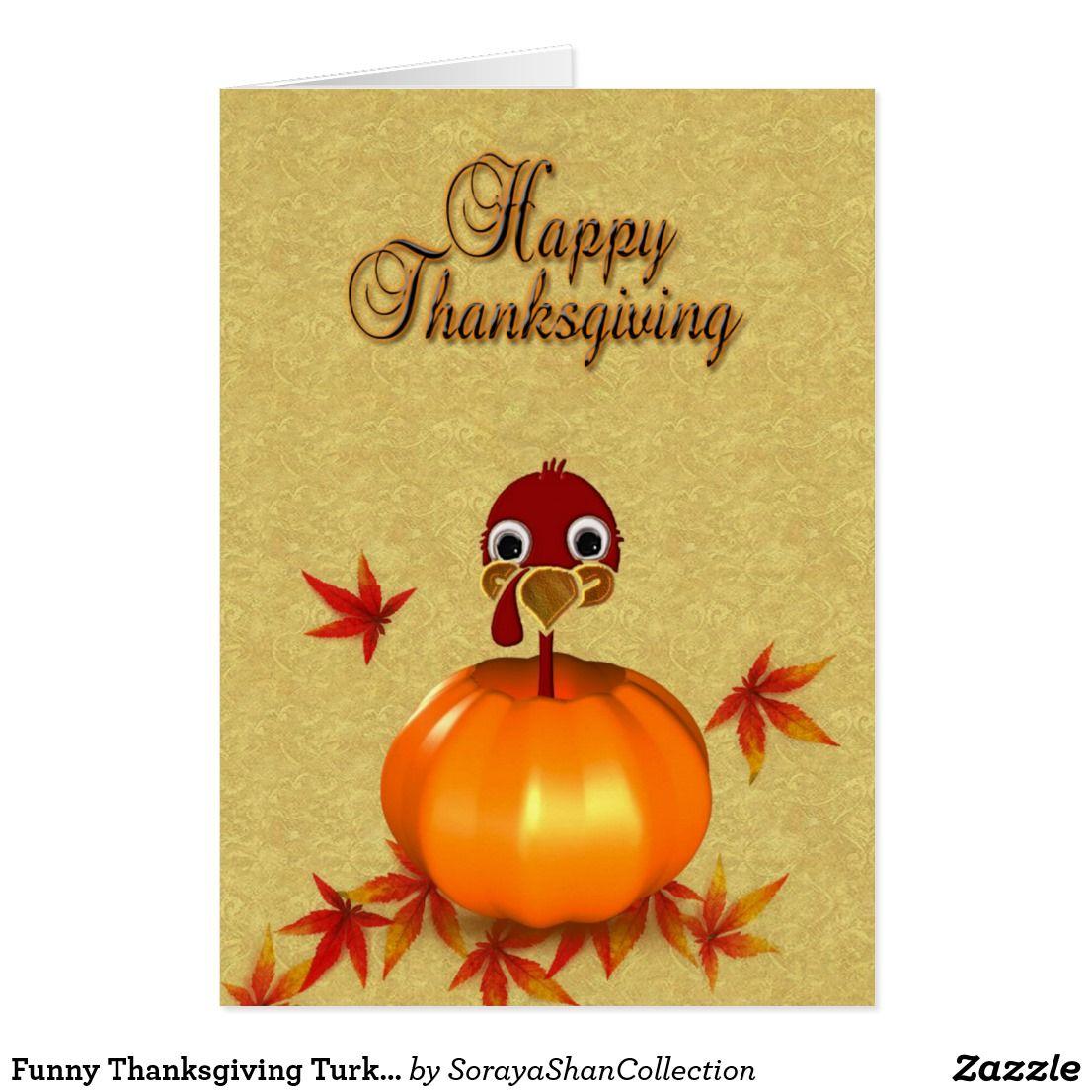 Funny Thanksgiving Turkey In Pumpkin Greeting Card Custom