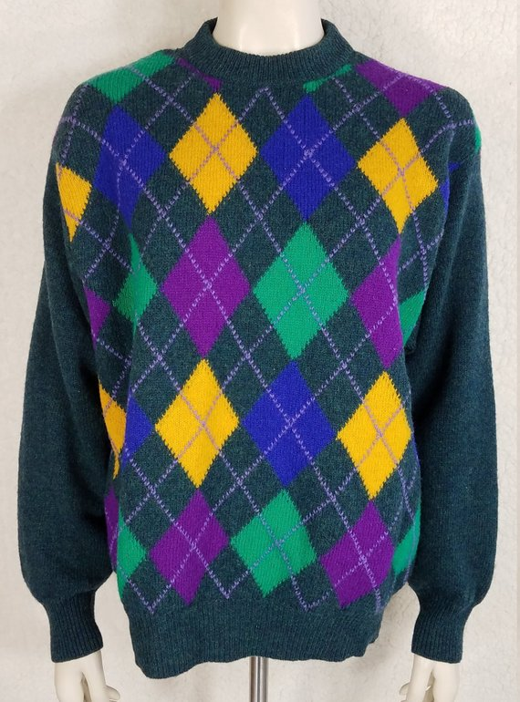 733575d854a United Colors of Benetton green yellow blue purple argyle Shetland Wool  sweater ladies Large 48 Ital