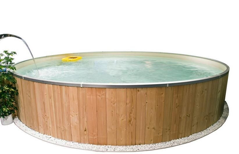 FUN WOOD POOL 400 cm x 120 cm – SAND, mit Holzverkleidung