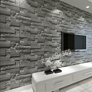 5 3 Sqm Arthouse Wall Dark Grey Slate Stone Wallpaper Brick Effect Background Uk Brick Wall Wallpaper Brick Wallpaper Modern Wallcovering