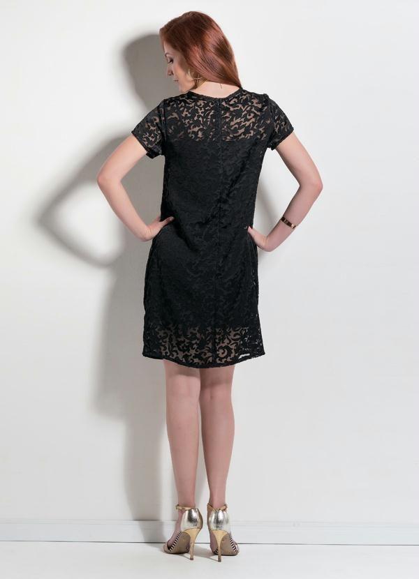 Vestido Reto em Tecido Brocado Preto - Mink