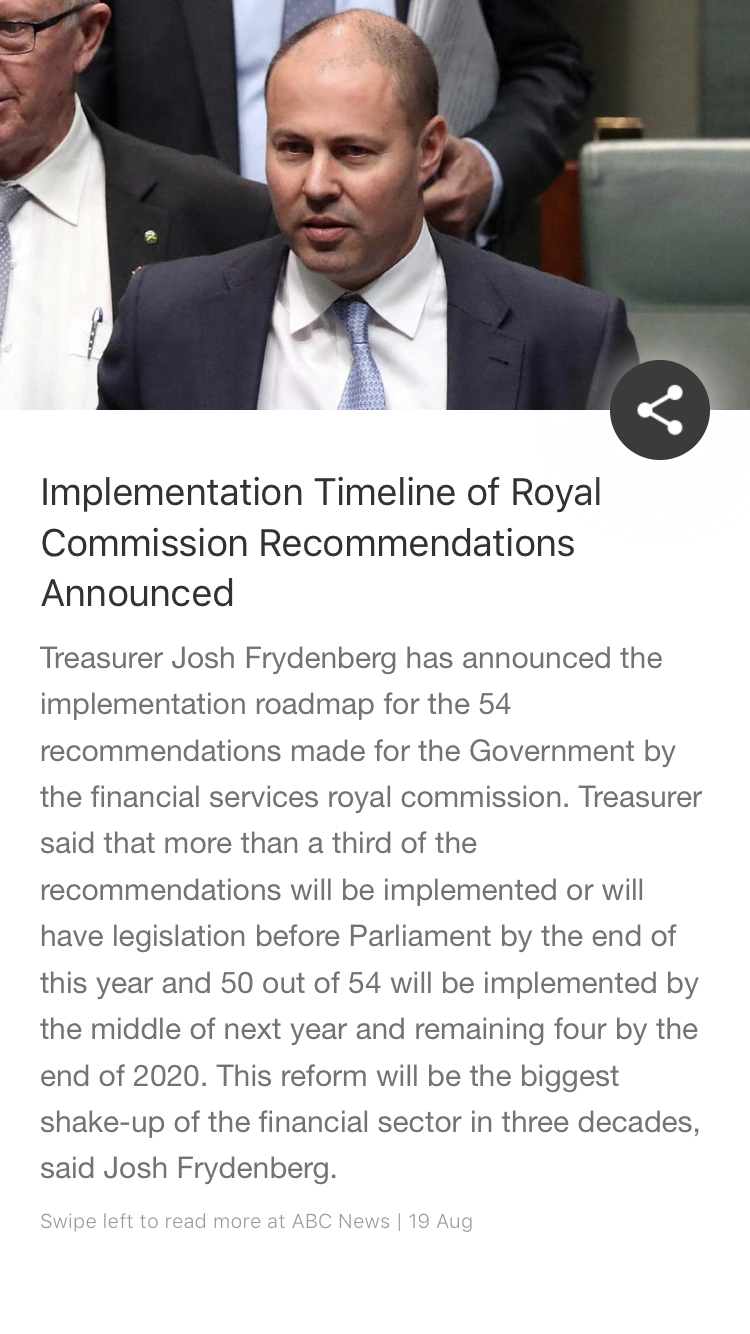Implementation Timeline Of Royal Commission Recommendations Announced Financial Services Australian News Government