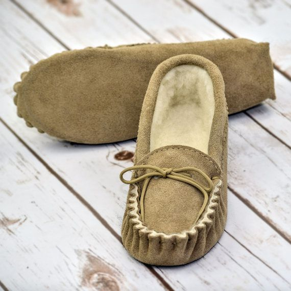 Photo of British Suede and Lambswool Handmade Moccasin Slippers in Beige