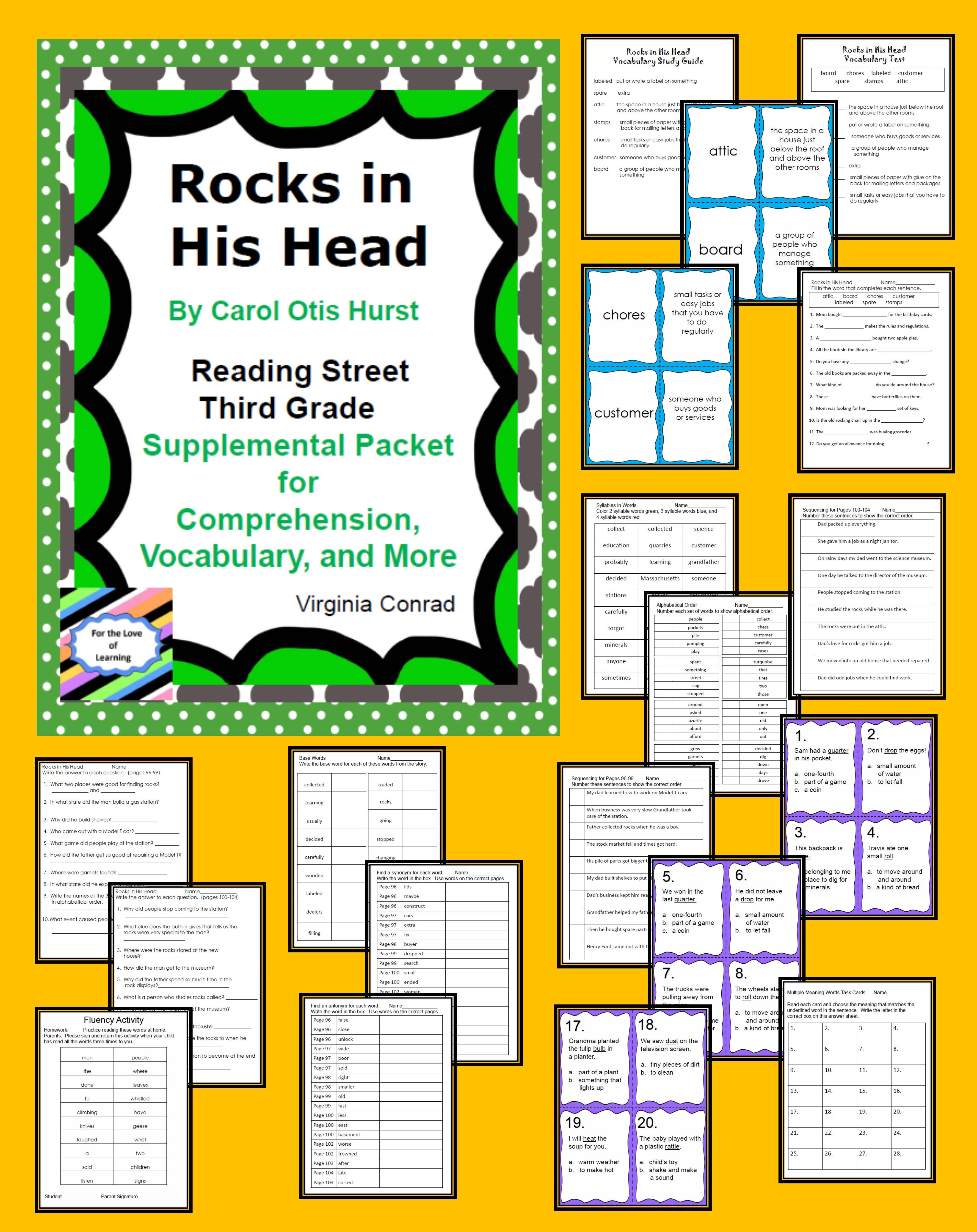 Rocks In His Head Supplemental Packet Reading Street Third Grade