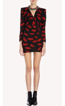 Saint Laurent Lip-Print Georgette Wrap Dress