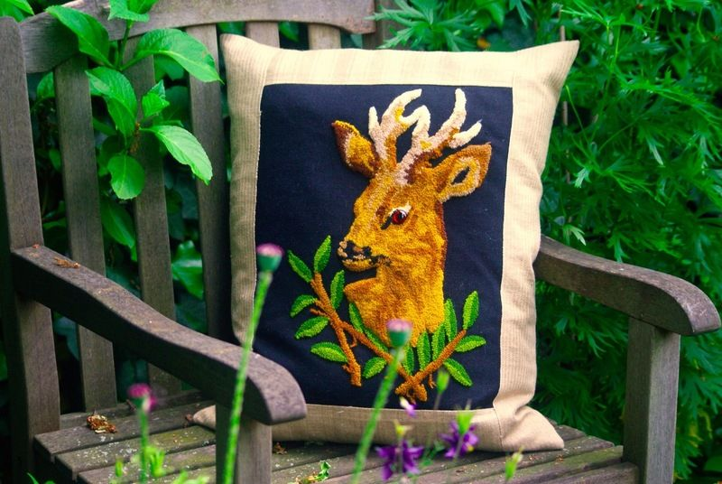Into the wild: upcycled vintage needlepoint deer for cool Cushion. Country living!