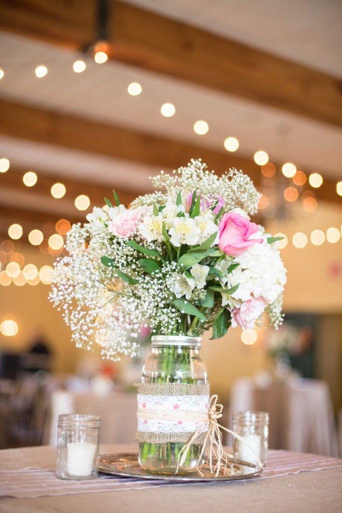 Frascos de vidrio decorados con arpillera con para boda - Centros de boda ...