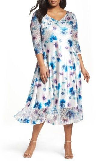 Komarov Plus Size Women\'s Floral Charmeuse & Chiffon A-Line Dress ...