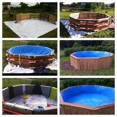 Enorme piscina costruita con pallet passo dopo passo