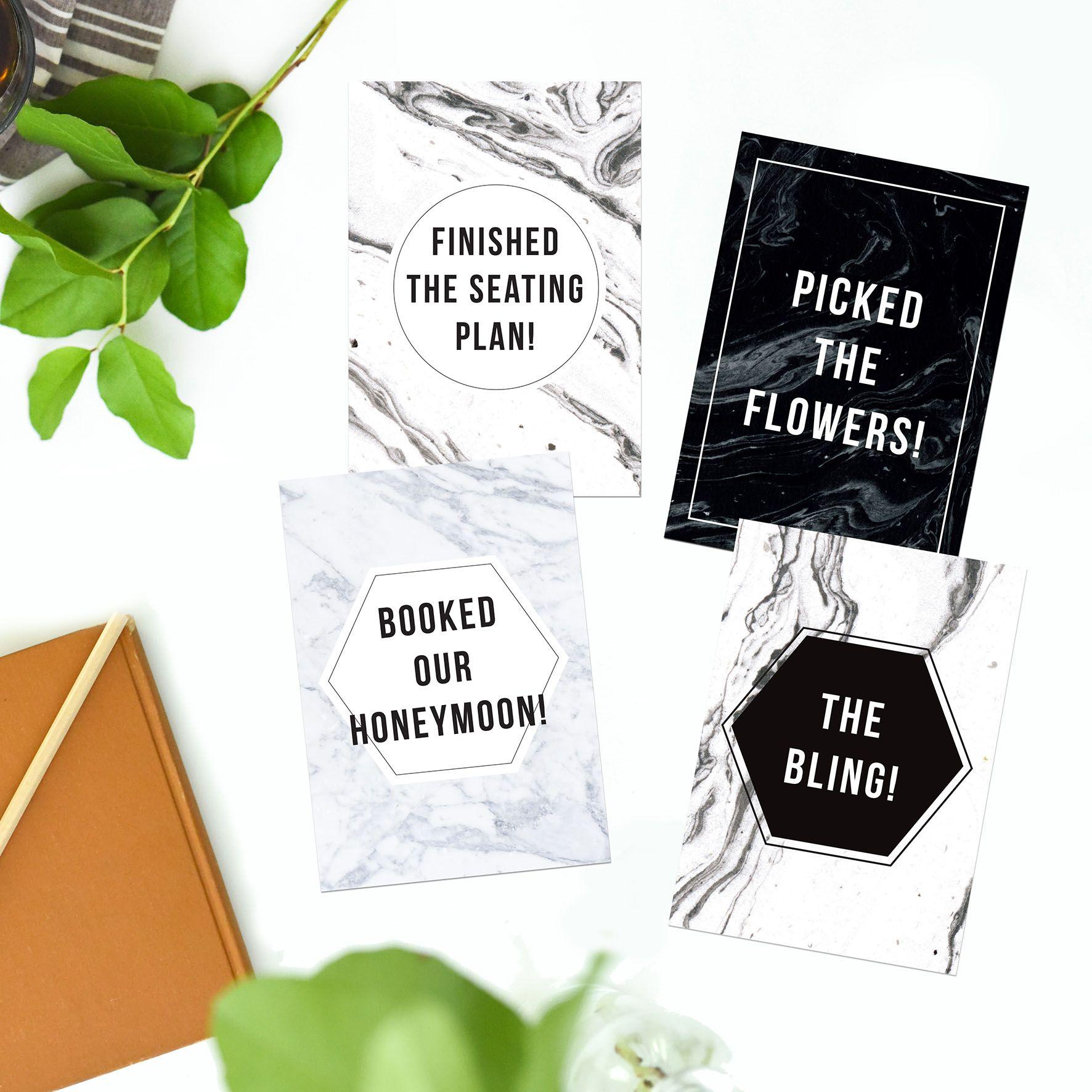 Wedding Milestone Cards Sail and Swan Monochrome weddings