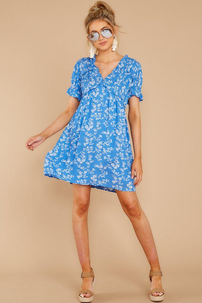 Cute blue floral print dress short sleeve shift dress