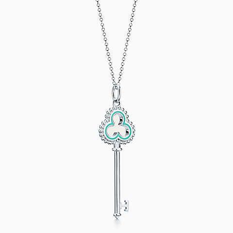 0b6ed1f3d Tiffany Keys beaded open trefoil key pendant in sterling silver, small.