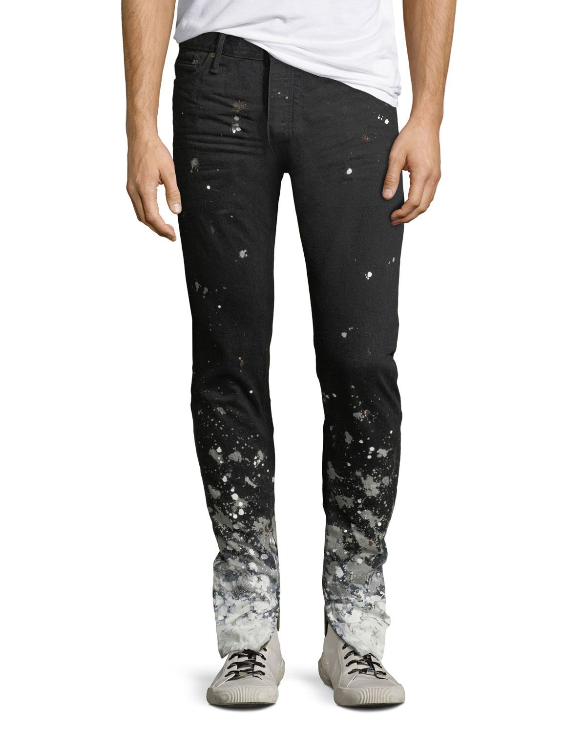 jeans with paint splatter mens at bottom