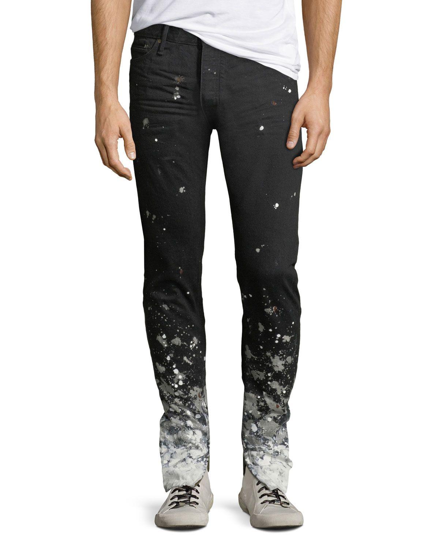 Fear Of God Men S Selvedge Denim Paint Splattered Jeans Fearofgod Cloth Painted Denim Paint Splatter Jeans Selvedge Denim
