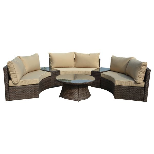Manhattan Comfort Pearl Semi Circle Outdoor Sofa Patio Set